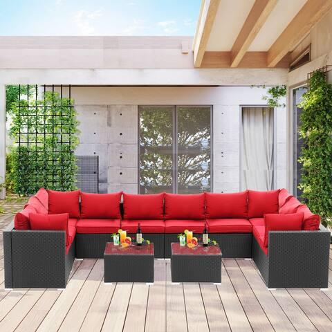 Ainfox Outdoor Rattan Sectional Sofa Patio Wicker Furniture Set