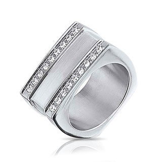 Bling Jewelry Geometric Square Grooved 2 Row CZ Stainless Steel Mens Ring