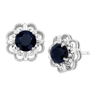 1 1/3 ct Natural Kanchanaburi Sapphire Stud Earrings with Diamonds in 10K White Gold - Blue
