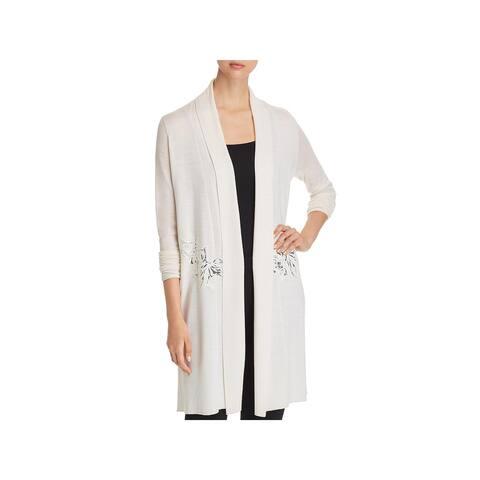 Elie Tahari Womens Cardigan Sweater Merino Wool Lace Detail - M