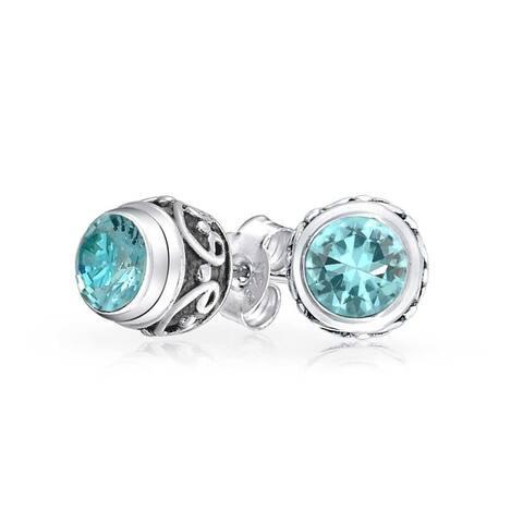 Bali Style Tiny Round Gemstone Blue Topaz Stud Earrings For Women Oxidized 925 Sterling Silver December Birthstone