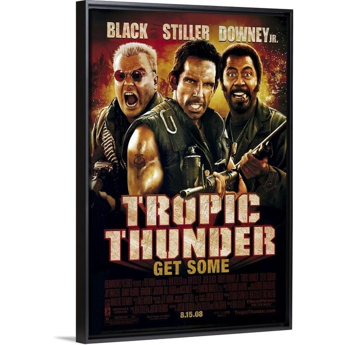 Shop Black Friday Deals On Tropic Thunder 2008 Black Float Frame Canvas Art Overstock 25503850