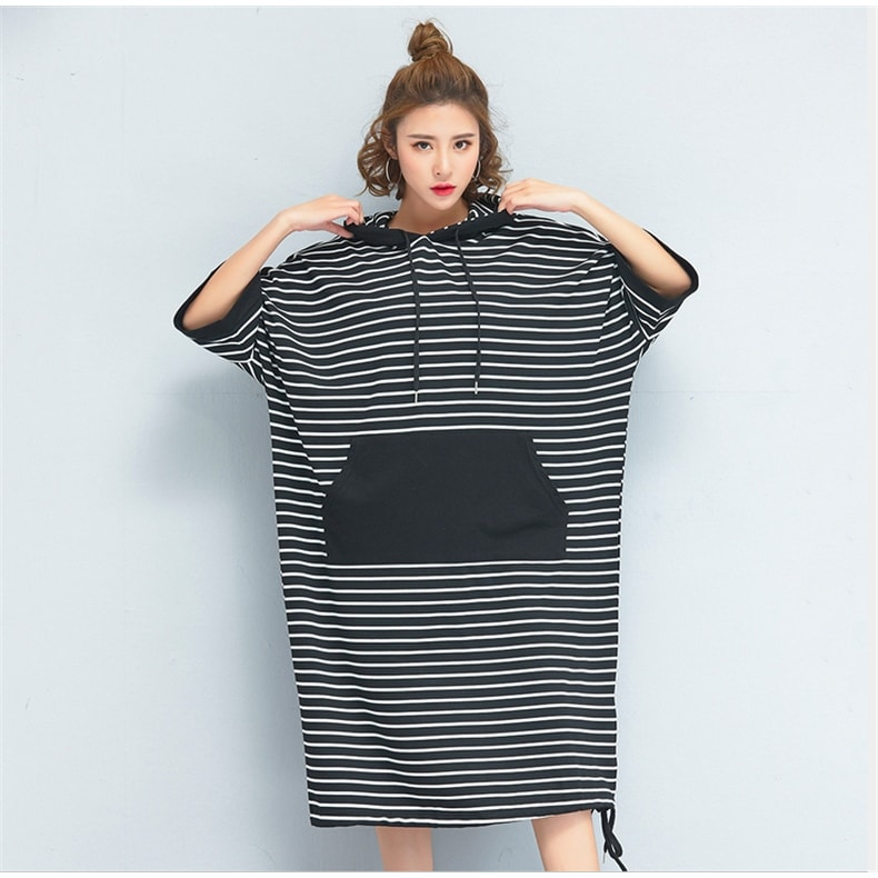 Black & White Stripe Oversized Hoodie Sweatshirt Jumper Dress Plus Size one  size fit for all - 20