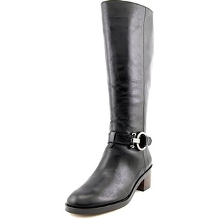 Coach Carolina Wide Calf Women Round Toe Leather Black Knee High Boot