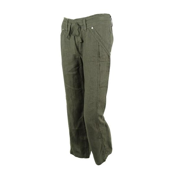 INC International Concepts Women's Wide-Leg Linen Pants - grey knight