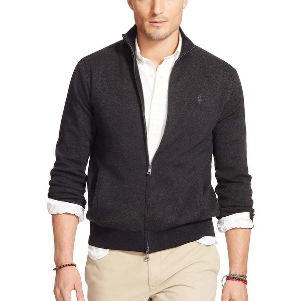 68edd4df99c Polo Ralph Lauren Pima Cotton Full Zip Mock Neck Sweater Charcoal Small S