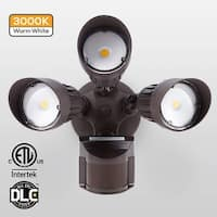 30W 3-Head Motion Activated LED Outdoor Security Light, 3000K, Bronze