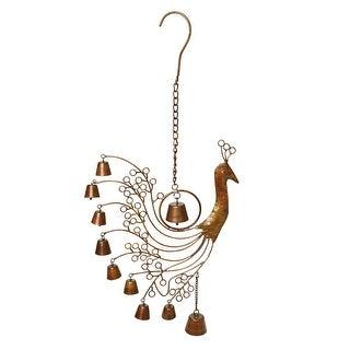 """Peacock Bells Wind Chime - Weatherproof Antiqued Steel - Indoor/Outdoor - 8"""" Wide"""