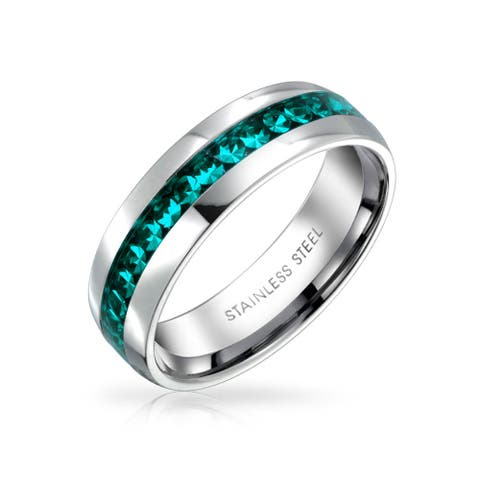 Aqua Blue Crystal Channel Set Eternity Band Ring For Women Stainless Steel 6mm