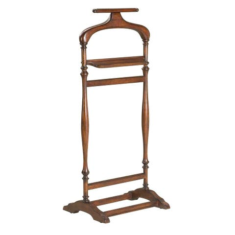 Traditional Wooden Valet Stand in Plantation Cherry Finish - Dark Brown - N/A