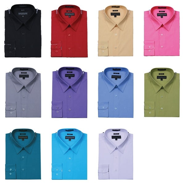 Men's Slim Fit Basic Solid Color Dress Shirt with Button Cuff. Opens flyout.