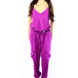 Lauren Ralph Lauren NEW Purple Womens Size 8 Tie-Waist Cargo Jumpsuit