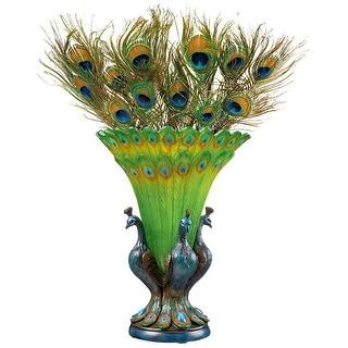 Design Toscano Grand Plumage Peacock Sculptural Vase