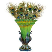 Design Toscano  Grand Plumage Peacock Sculptural Vase