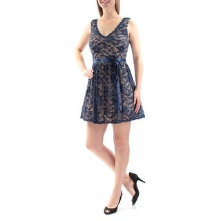 B DARLIN Womens Navy Lace Belted Floral Sleeveless V Neck Mini Fit + Flare Party Dress Juniors Size: 9