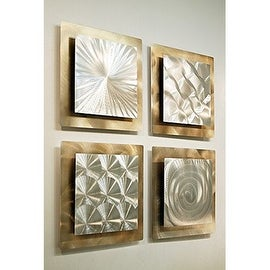 Statements2000 Set of 4 Gold Silver Metal Wall Art Accent by Jon
