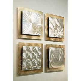 Statements2000 Set Of 4 Gold Silver Metal Wall Art Accent By Jon Allen
