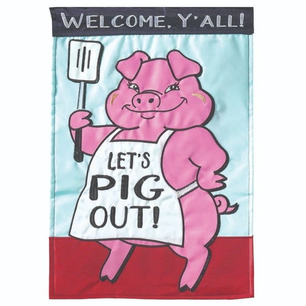 "Pink and Blue ""LETS PIG OUT"" Printed Rectangular Garden Flag 18"" x 13"" - N/A"