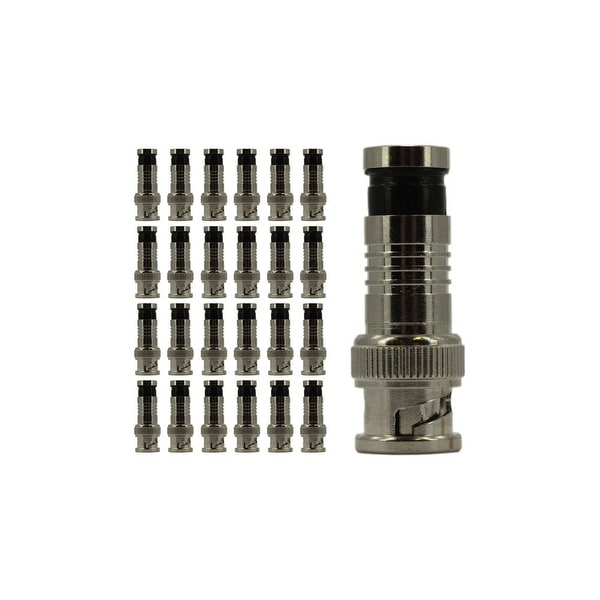 RG6 BNC Compression Connector, Copper, 25 Pack
