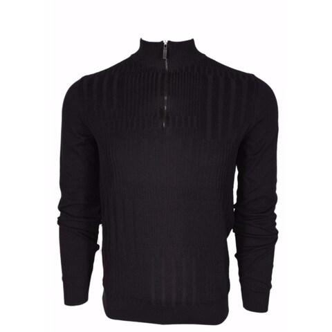 BOSS Hugo Boss Black Label $195 Slim Fit Zip Neck Sweater Shirt Medium