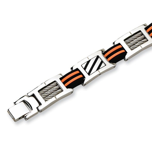 Chisel Polished Stainless Steel and Rubber Bracelet - 8.5 Inches