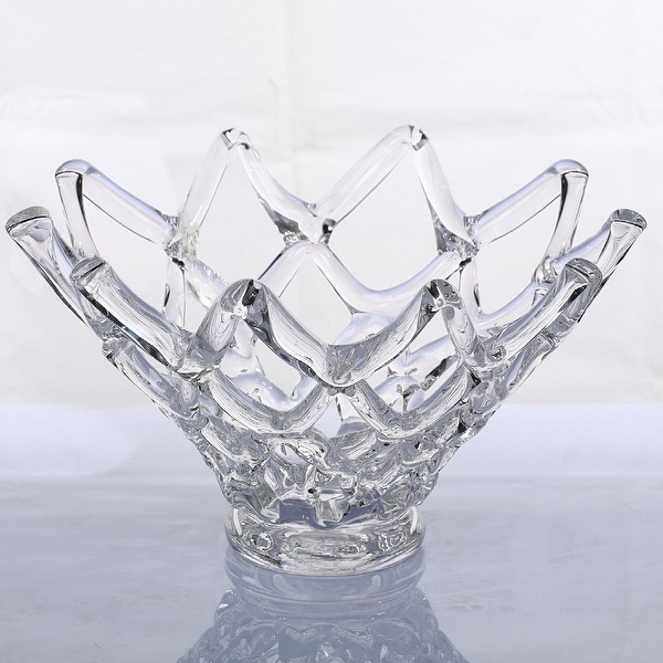 "17.5"" Clear Crown Shaped Handblown Glass Tabletop Vase - N/A"