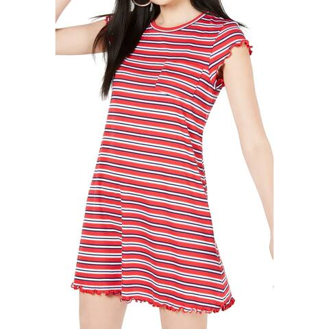 Ultra Flirt Red Size Medium M Junior Ruffle Edge Striped T-Shirt Dress