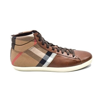 Burberry Mens Housecheck Leather High Top Sneakers U.S. 8