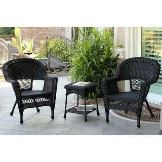 3-Piece Black Resin Wicker Patio Chairs and End Table Furniture Set