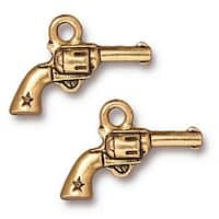 TierraCast 22K Gold Plated Pewter Western Six Shooter Gun Charm 14mm (1)