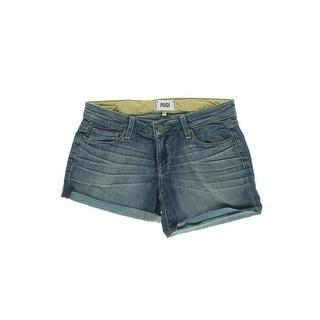 Paige Womens Medium Wash Baked Crease Denim Shorts
