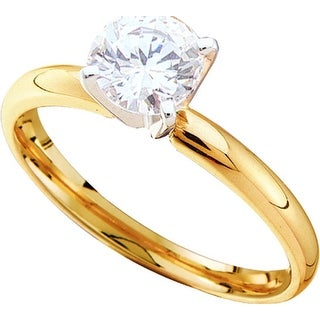 1/4Ctw Round Diamond Solitaire Ring . (Excel) Yellow-Gold 14K