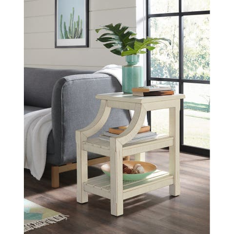 Barn Door Solid Wood Chairside Table with Power