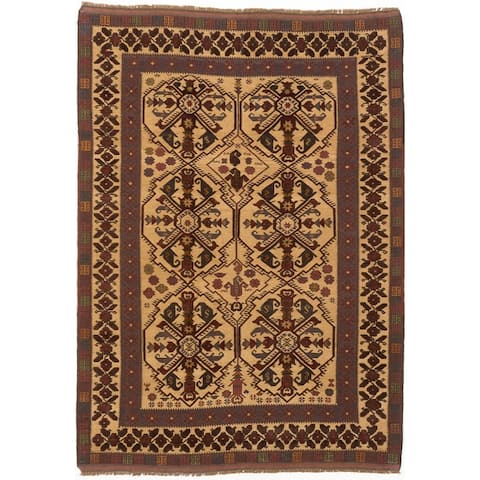 "ECARPETGALLERY Hand-knotted Tajik Tribal Beige, Red Wool Rug - 6'8"" x 9'6"""
