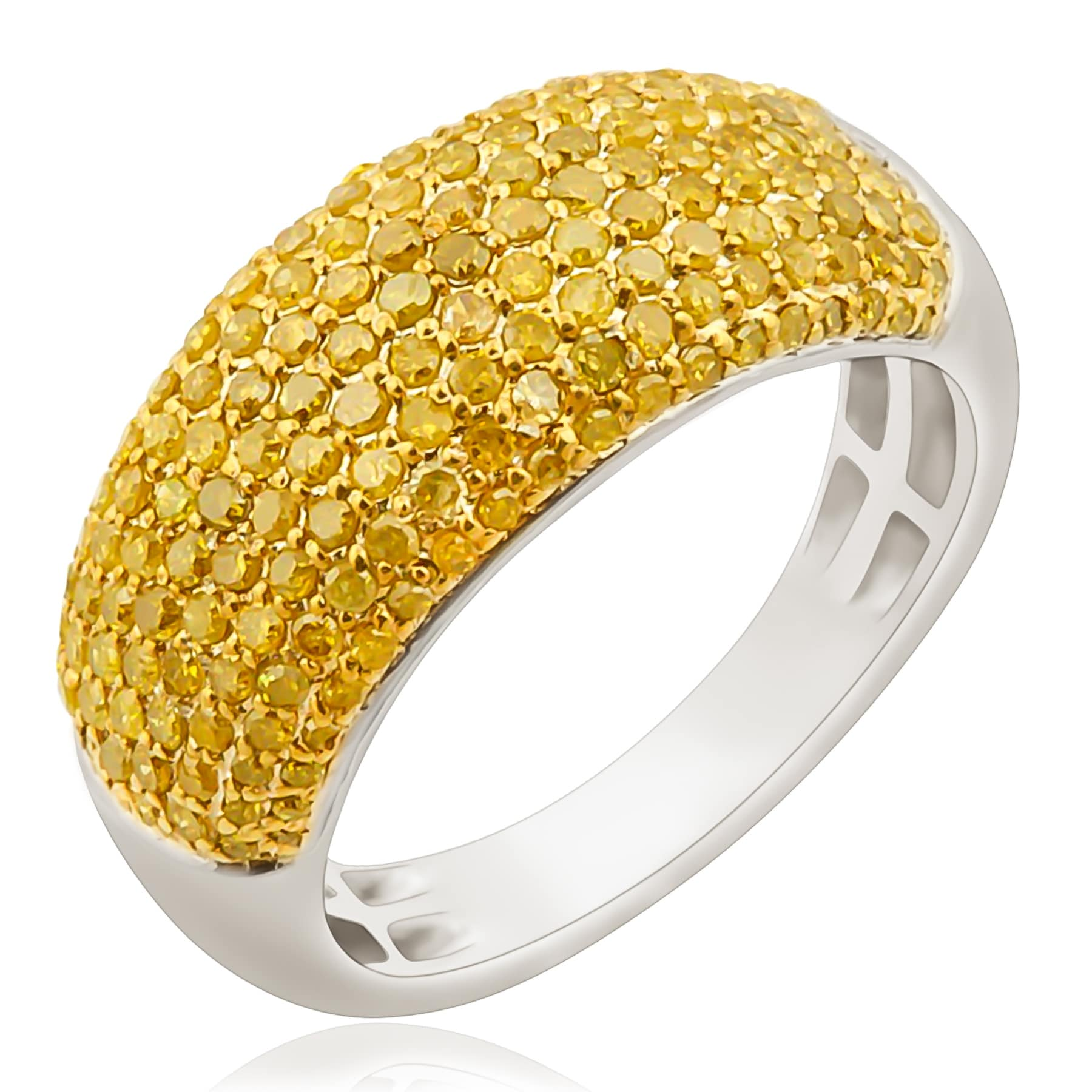 Brand New 1.02 Carat Round Brilliant Cut Yellow Color Diamond Wedding Band - Thumbnail 0