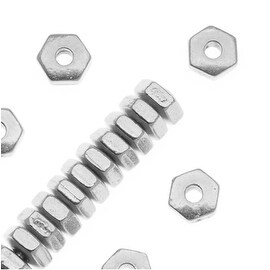 TierraCast Fine Silver Plated Pewter Hexagon Spacer Beads 3.8mm (50)