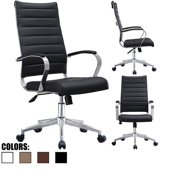 2xhome Modern High Back Tall Ribbed Office Chair Pu Leather Swivel Tilt Adjule Cushion