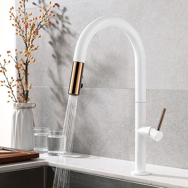 Single handle hot and cold kitchen faucet (white + rose gold) - 8' x 10'. Opens flyout.