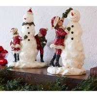 Pack of 6 Decorative Poly-resin Snowman with Children Figure - WHITE