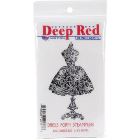 Deep Red Stamps Dress Form Steampunk Rubber Cling Stamp - 2 x 3.25