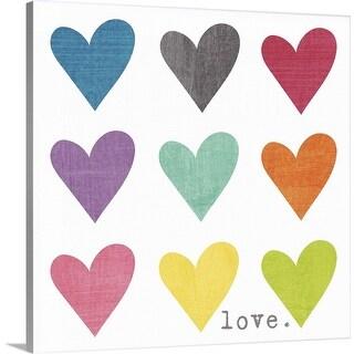"""Watercolor Hearts"" Canvas Wall Art"