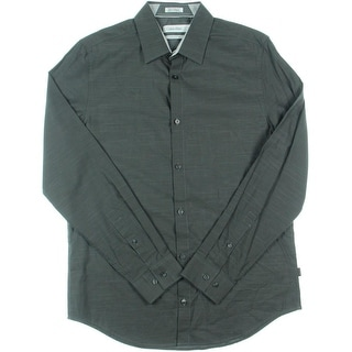 Calvin Klein Mens Button-Down Shirt Slub Cotton