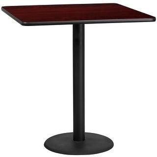 "Dyersburg 42'' Square Mahogany Laminate Table Top w/42"" High Round Base"