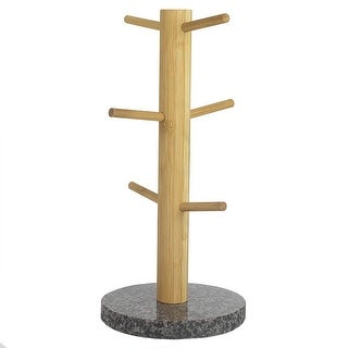 "Home Basics Bamboo Mug Tree With Black Granite Base, 6.4""x6.4""x14.6"""