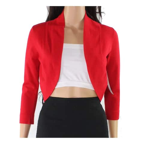 London Times Women's Sweater Red Size Small S Cardigan Cropped Open