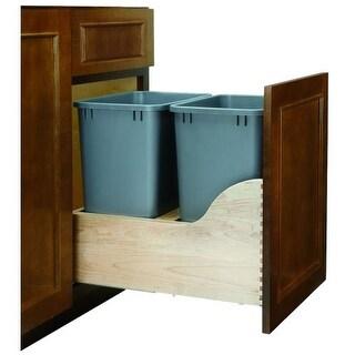 "Rev-A-Shelf 4wcsc-1835dm-2 4WCSC Bottom Mount Double Bin Trash Can with BLUMOTION Soft Close for 18"" Base Cabinets - 35 Quart"