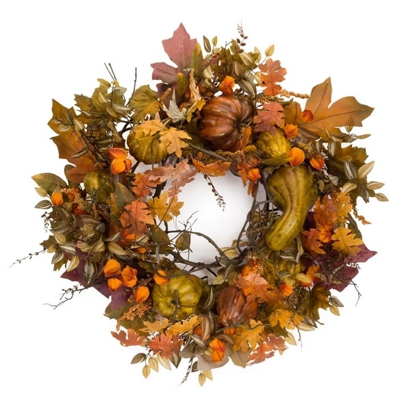 "42"" Autumn Gourd and Berry Wreath - Unlit"