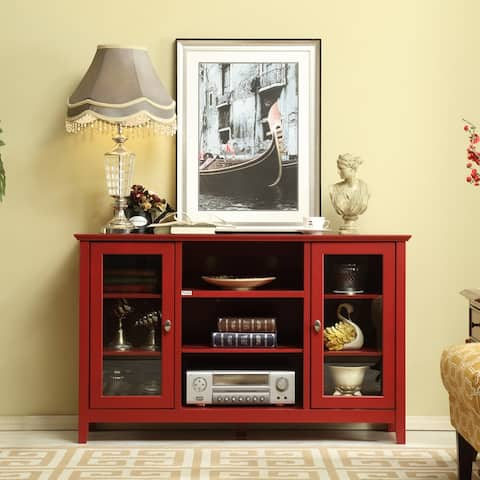 """52""""Wide Wooden Elegant TV Stand Console Table for Living Room,Red - 51.8*15.6*32.1"""