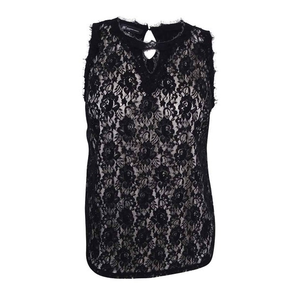 65d59cf0624ec8 Shop INC International Concepts Women's Plus Size Lace-Overlay Keyhole Top  - Deep Black - Free Shipping On Orders Over $45 - Overstock - 17019357