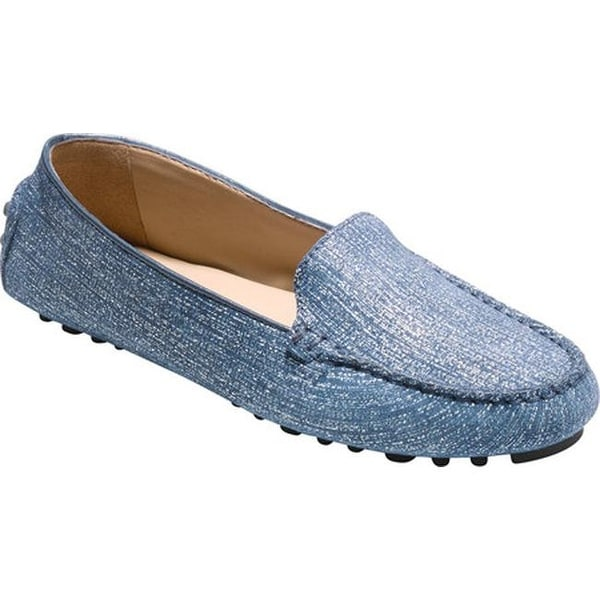 e2a63f8a310 Cole Haan Women  x27 s Hanneli Driver II Loafer Marine Blue and White Nubuck